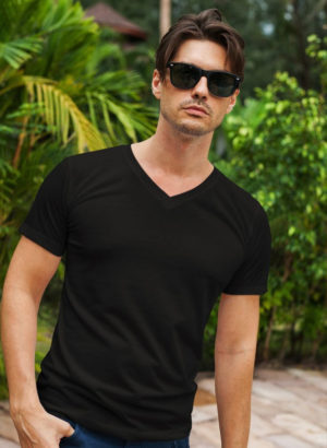 BLACK PLAIN V NECK MEN TSHIRT