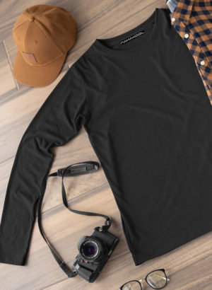 BLACK PLAIN FULL SLEEVES MEN TSHIRT
