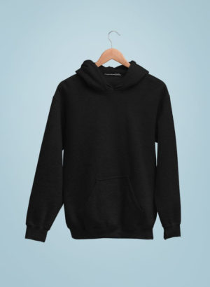 BLACK PLAIN HOODIES MEN