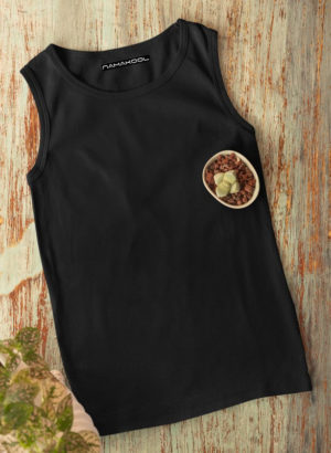BLACK PLAIN VEST MEN TSHIRT