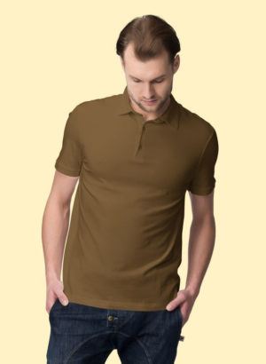 BROWN PLAIN POLO MEN TSHIRT