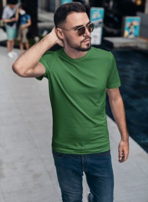 GREEN PLAIN MEN TSHIRT