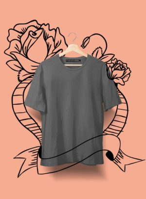 DARK GREY PLAIN MEN TSHIRT