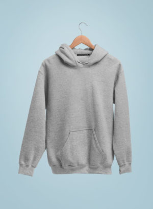 GREY PLAIN HOODIES MEN