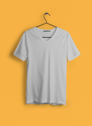 GREY PLAIN V NECK MEN TSHIRT