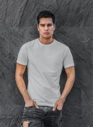 GREY PLAIN MEN TSHIRT