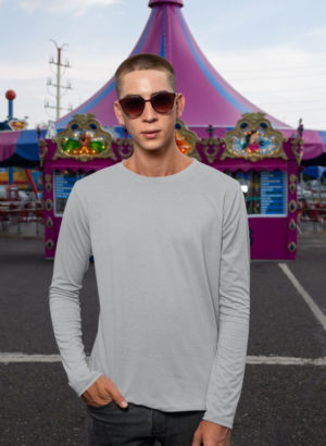 GREY PLAIN FULL SLEEVES MEN TSHIRT