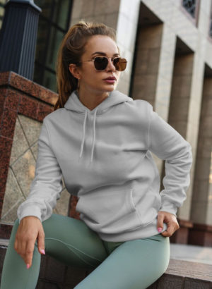 GREY PLAIN HOODIES WOMEN