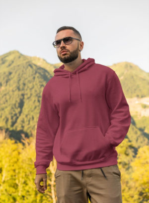 MAROON PLAIN HOODIES MEN
