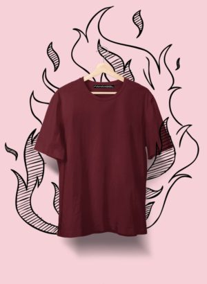 MAROON PLAIN MEN TSHIRT