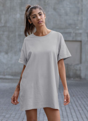 GREY PLAIN LONG DRESS WOMEN