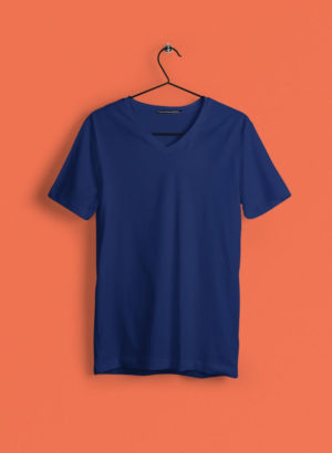 NAVY BLUE PLAIN V NECK  MEN TSHIRT