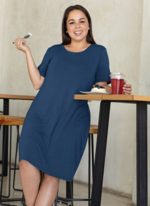 NAVY BLUE PLAIN LONG DRESS WOMEN