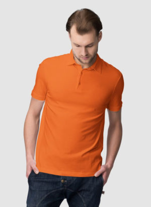ORANGE PLAIN POLO MEN TSHIRT