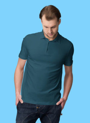 PETRO BLUE PLAIN POLO MEN TSHIRT
