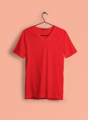 RED PLAIN V NECK MEN TSHIRT