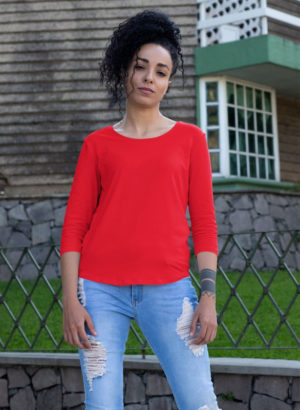 RED PLAIN 3/4th SLEEVES WOMEN