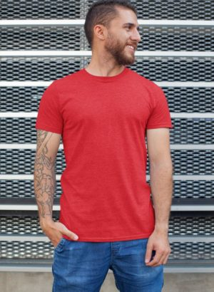 RED PLAIN MEN TSHIRT