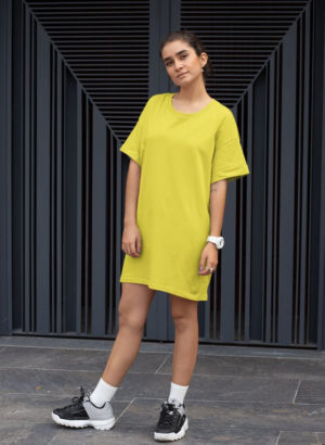 YELLOW PLAIN LONG DRESS WOMEN