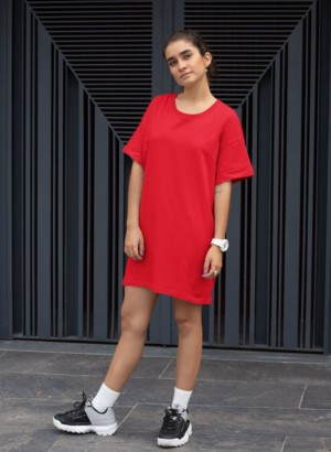 RED PLAIN LONG DRESS WOMEN