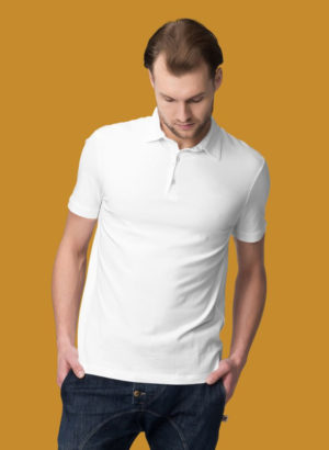 WHITE PLAIN POLO MEN TSHIRT