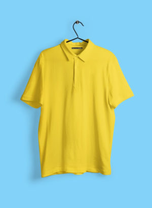 YELLOW PLAIN POLO MEN TSHIRT